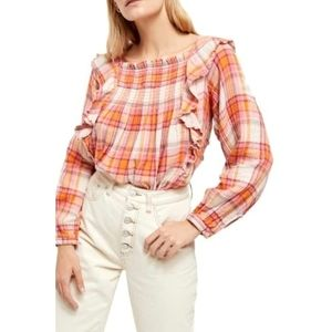 Free People NWT Siena Plaid Pullover Medium
